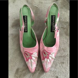 Pink embroidered sling back heels from FAVOURBROOK